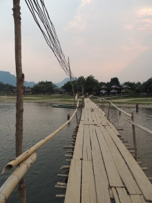 Bamboo bridge. People drive scooters over it. No joke.