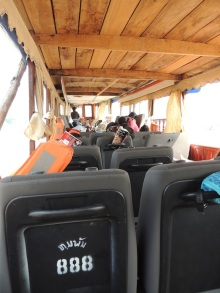 Boat, filled with old minibus seats