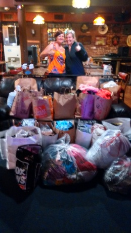 Me and Angie with our piles of donations!