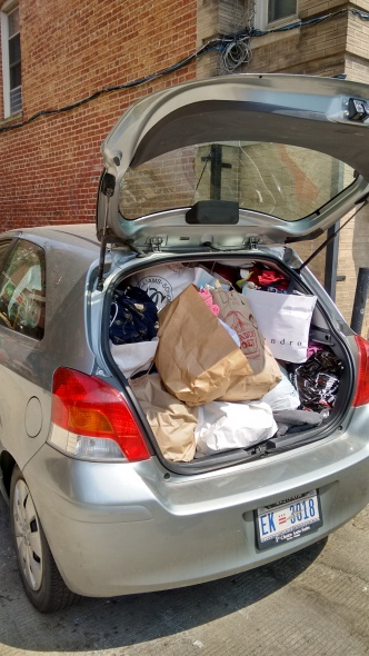 The Jellybean barely fit everything that we collected to donate to Martha's Outfitters