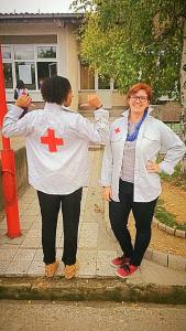 Our awesome Red Cross shirts for when we do stuff in public