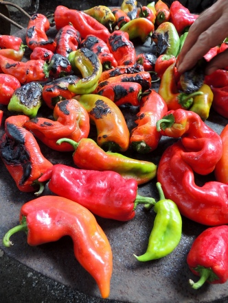 roast the peppers, peel the peppers, mash the peppers, eat the peppers