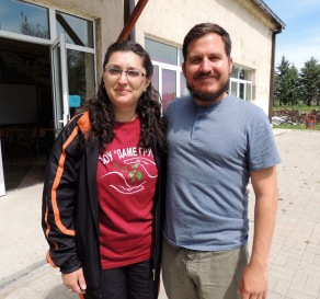 Kyle with the school director, Maja