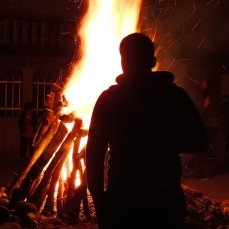 Kyle by the bonfire