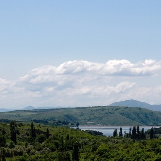 You can see the reservoir we visited a couple of weeks ago from the village, which is on the other side of the lake from where we were