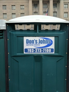 I want to shake the hand of whoever decided to contract with Don's Johns for the inauguration porta potties. Before inauguration, they had to cover all of the signs up, but by the next day a lot of the covers had been removed.