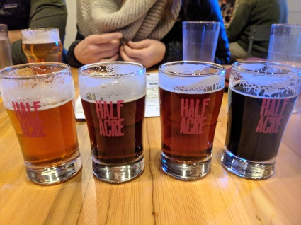 Flights at Half Acre Brewing with Audrey and Andres
