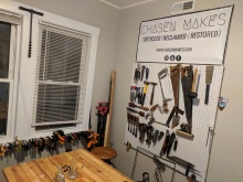 Kyle's new workshop! No more closets full of wood!