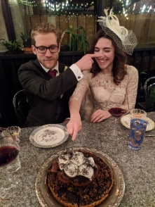 The happy couple cutting the cake!
